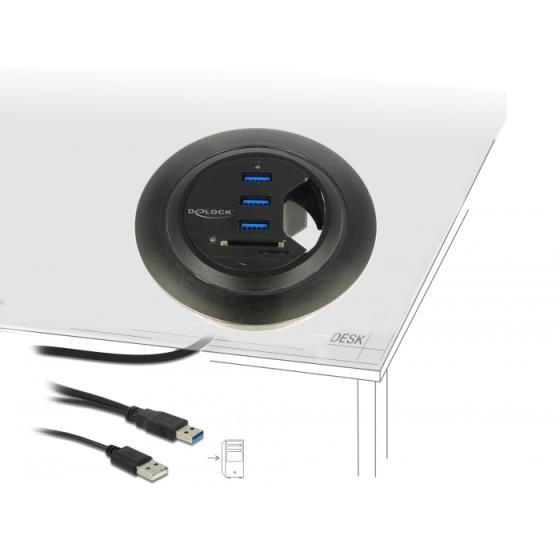 DeLockIn-Desk Hub 3 Port USB 3.0 + 2 Slot SD Card Reader